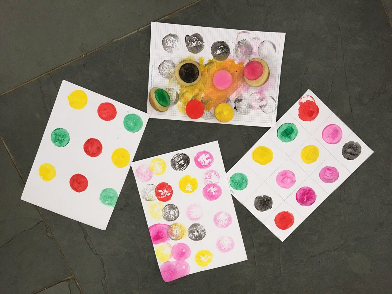 Dot-painting by Rosalyn & Martha, aged 8 and 5